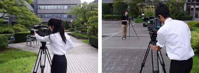 ビデオカメラを使用した撮影実習の様子